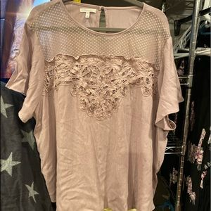Taupe Maurices Lace Top